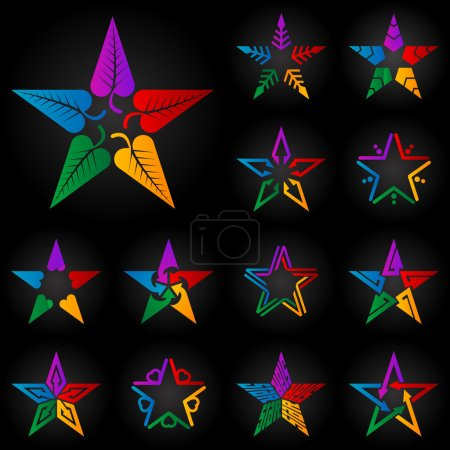 Colorful stars with leaves