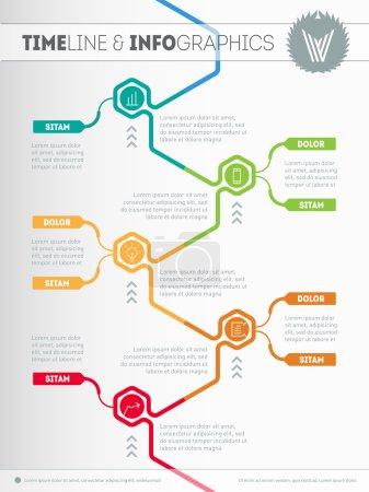 Illustration pour Modèle Web avec des icônes et des éléments de conception. Diagramme vectoriel pour la visualisation des données. Tendances et tendances en matière d'éducation. Chronologie infographique. Graphique du processus technologique. - image libre de droit