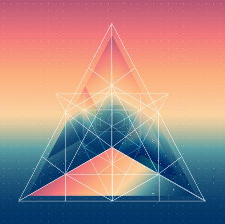 Illustration pour Pyramide isométrique abstraite avec reflet de l'environnement et triangles poly bas sur fond flou. Fond flou multifonctionnel vectoriel . - image libre de droit