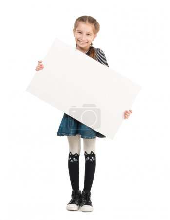 pretty schoolgirl with blank sheet in hands