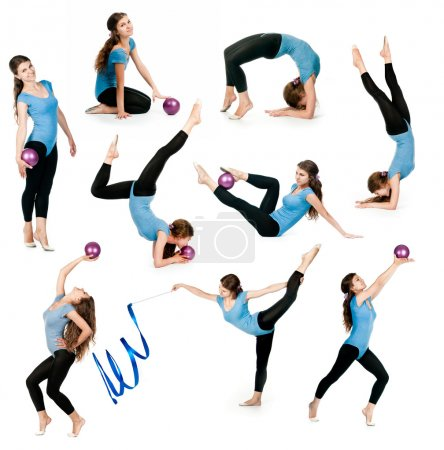photo collage of a young gymnast with ball and ribbon