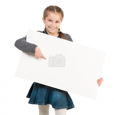 pretty schoolgirl with blank sheet in hands