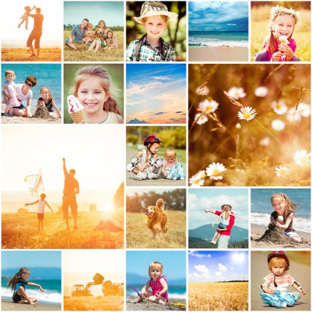 Photo for Collage of photos on a summer theme with family - Royalty Free Image