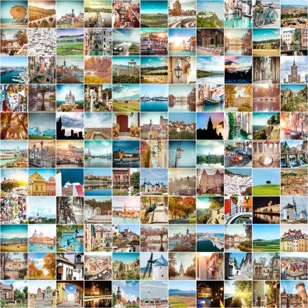 Photo pour Collage de photos de voyage de différentes villes de l'Europe - image libre de droit