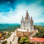 Tibidabo church on mountain in Barcelona with chri...