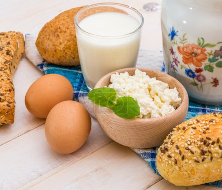 Breakfast of cheese, milk and eggs