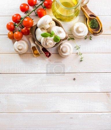 Ingredients for cooking vegetarian food