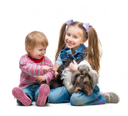 Photo for Happy  sisters  with the dog  in the studio. Isolated on white background - Royalty Free Image