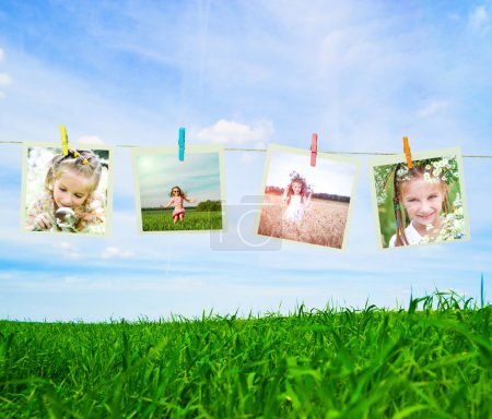 Photo for Photo collage of a little girl in a wreath of flowers - Royalty Free Image