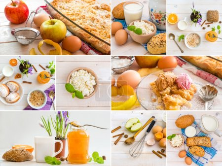 Photo pour Collage photo de nourriture sur une table en bois - image libre de droit