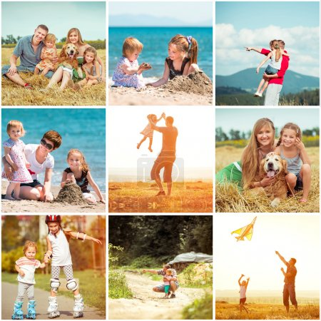Photo for Photo collage of family on vacation - Royalty Free Image