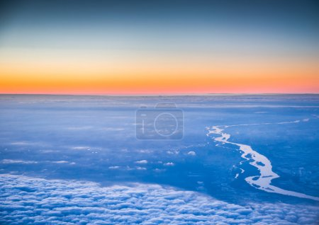 Flying above the beautiful clouds