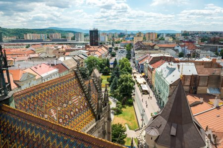 Aerial view on the historic center of Kosice. Slov...