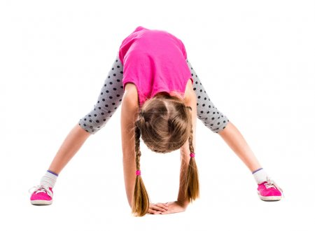 cute little girl stretching