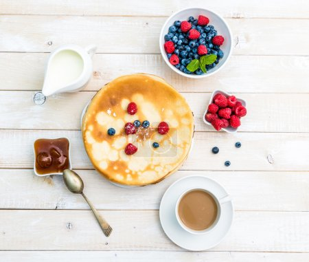 Photo for Breakfast with pancakes top view - Royalty Free Image