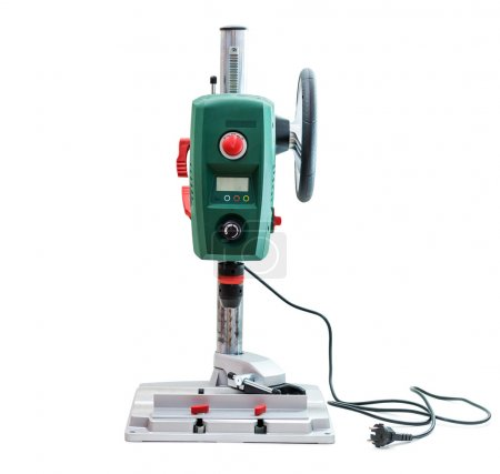 Bench-mounted drill press isolated