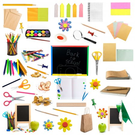 Photo for Collage of different colorful childish stationery isolated on white background - Royalty Free Image