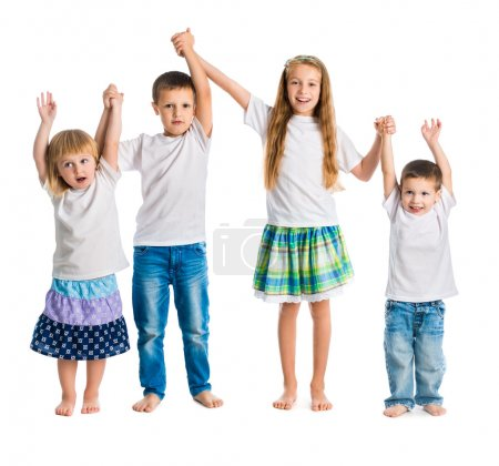 children jump holding hands