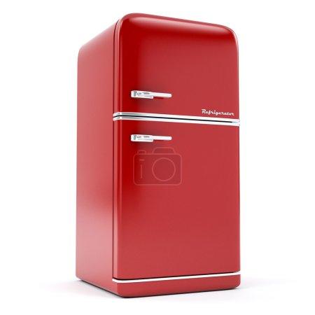 Retro refrigerator on a white background