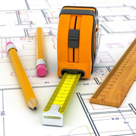 Foto de Planificación concepto casa 3d en un plano arquitectónico - Imagen libre de derechos
