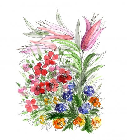 Decorative hand drawing flowers