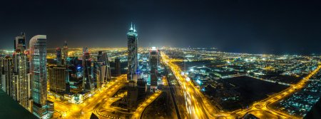Photo for Panorama of downtown Dubai at night, United Arab Emirates - Royalty Free Image