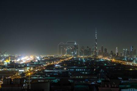 Dubai downtown at night in Dubai