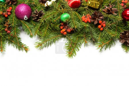 Christmas border with decorations