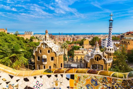 Park Guell by architect Gaudi in a summer day  in ...