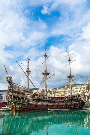 Old wooden ship in Genoa, Italy