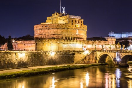 Castel Sant Angelo in Rome, Italy at night...