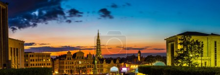 Photo for Panorama of Brussels city center at summer night - Royalty Free Image