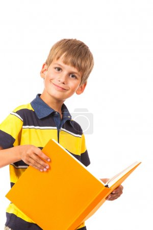 School boy is holding a book