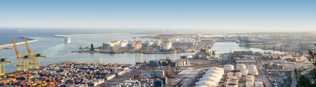 Panoramic view of port in Barcelona