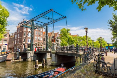 Canals and bridge in Amsterdam