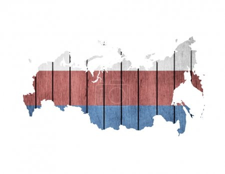 Russian Map With Wooden Flag