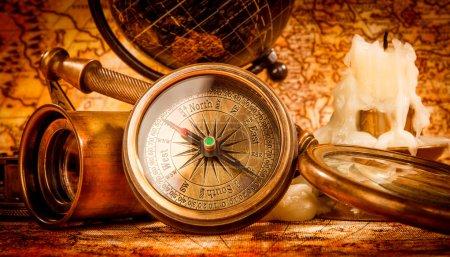 Vintage still life. Vintage items on ancient map.