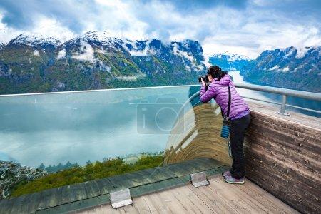 Nature photographer. Stegastein Lookout.