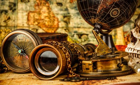 Photo for Vintage grunge still life. Vintage items on ancient map. - Royalty Free Image