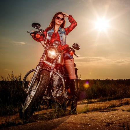 Biker girl with sunglasses