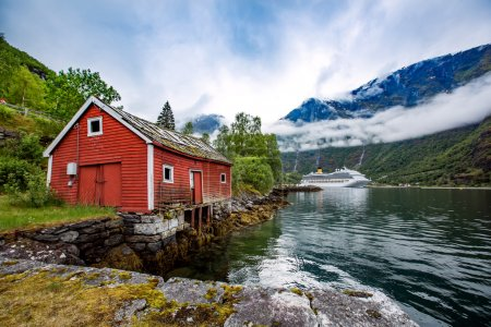 Norway landscape, and  house
