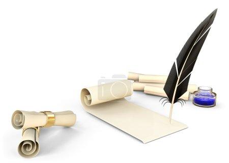 Ancienne plume avec encre et parchemins vierges