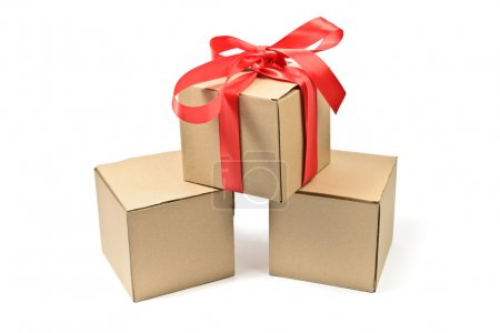 cardboard boxes with red bow