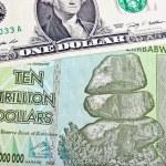 Zimbabwe ten trillon dollars bill and one American...