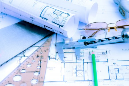 Architectural blueprints rolls and engineering items