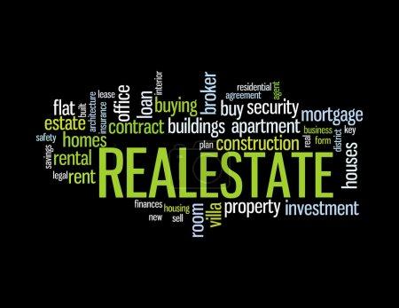 Photo pour Wordcloud représentant des mots liés au concept de l'immobilier - image libre de droit
