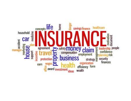Photo pour Assurance protection info texte arrangement concept mot nuage - image libre de droit