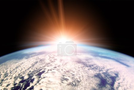 Photo for Illustration of Rising Sun over Earth horizon - Royalty Free Image