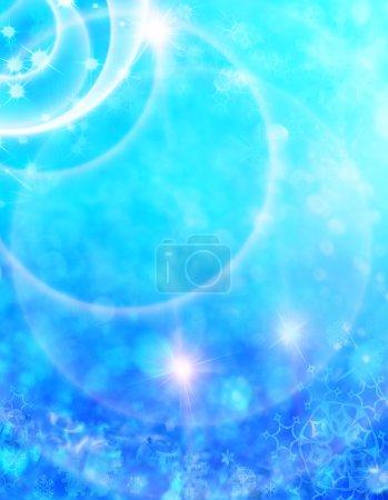 Photo pour Fond abstrait de Noël avec des étoiles brillantes, flocons de neige de couleur bleue et blanche. Nouvel an lumières, ciel étoilé - image libre de droit