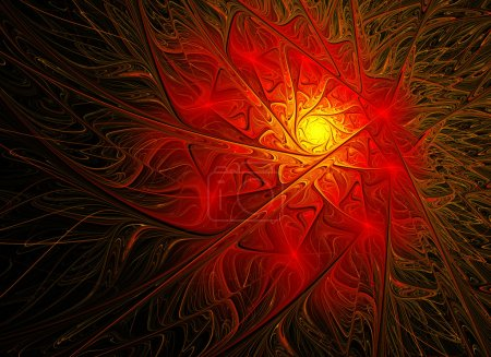 fractal background with bright red flower with yellow midway